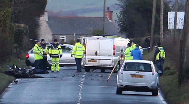 Emergency services at the scene of the fatal crash yesterday between Magheramorne and Ballycarry in Co Antrim