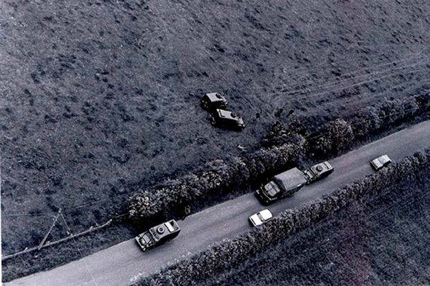 An aerial view of the scene at Carrickaness Road, Benburb, on June 15, 1974, following the fatal shooting of John Pat Cunningham