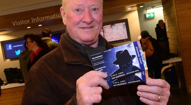Norman Carson from Belfast with his ticket for Van Morrison