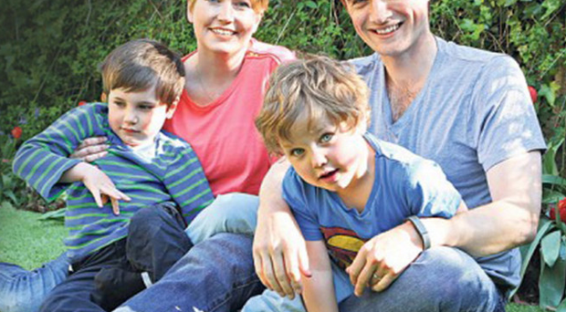 Kate Gross with husband Billy Boyle and sons Oscar and Isaac
