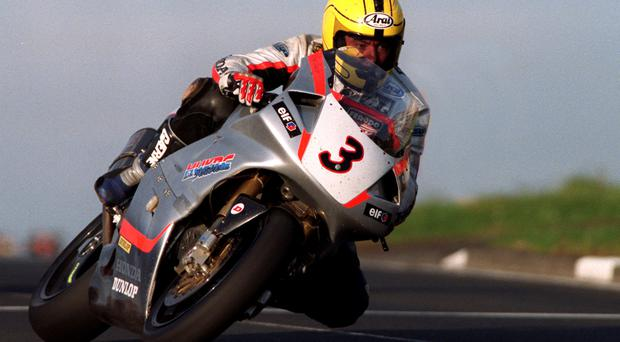 Joey Dunlop on the RC45 Honda in 1999 at the North West 200.