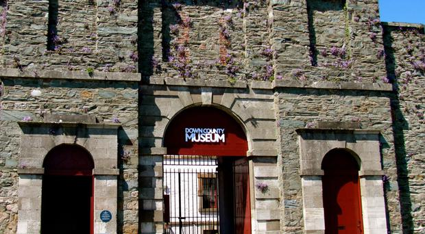The Down County Museum was securely sealed off to allow filming of The Frankenstein Chronicles
