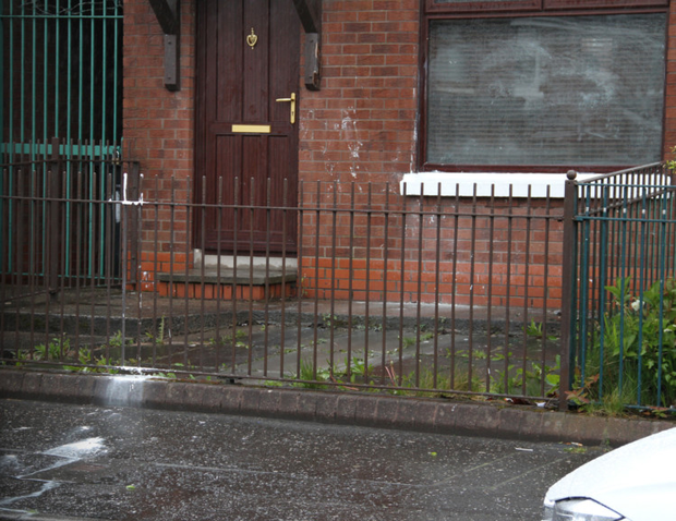 The house in west Belfast targeted by paint bombers