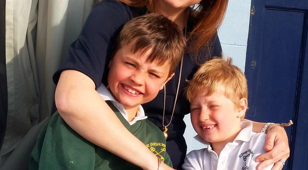 Clea Driscoll with sons Bobby (7) and Tom (5)