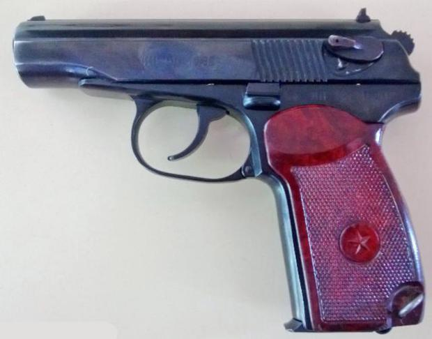 An Eastern European type gun called a Makarov, similar to the one above, was used to kill Jock Davison