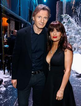 Liam Neeson with Salma Hayek at the Spike TV's Guys Choice event