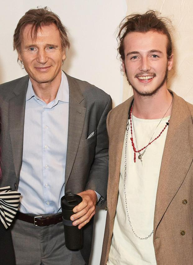 Leading men: Liam Neeson and his son Michael