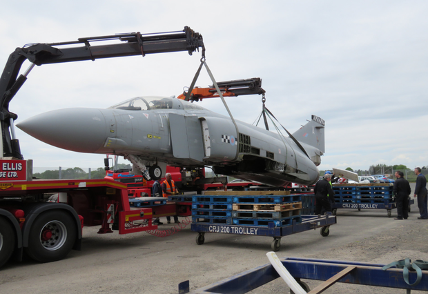 The dismantled Phantom jet makes its way from RAF Leuchars in Scotland to its new base in Northern Ireland