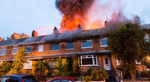 Flames were still visible at daylight after the 4am fire