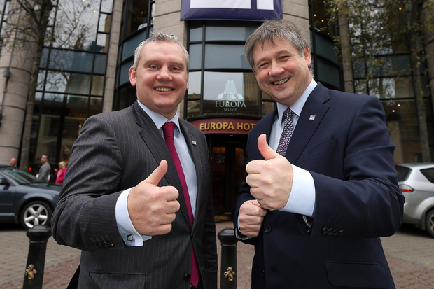 John McCallister and Basil McCrea at an NI21 conference in November 2013