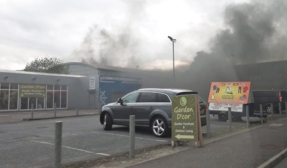 Thick smoke pours from the unmanned sewage plant in Newry last night