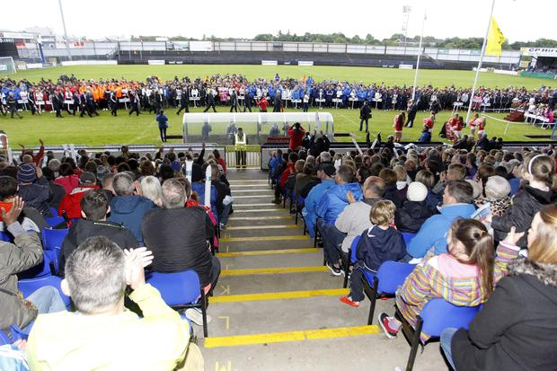 Crowds pack the Coleraine Showgrounds last night for the opening ceremony of the Dale Farm Milk Cup 2015