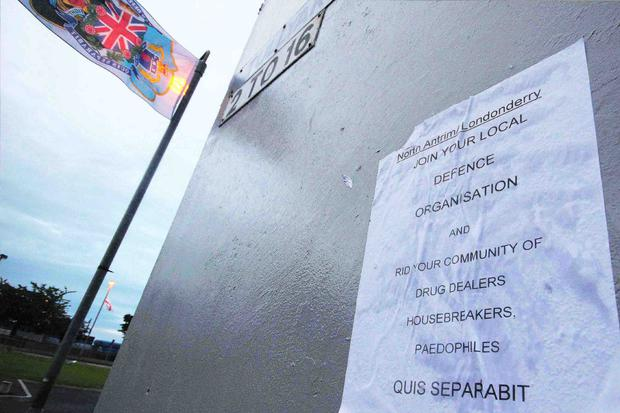 A poster calling on people to join the terror group on a wall at Harpurs Hill in Coleraine