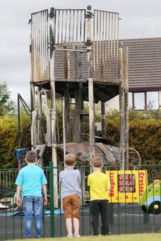 Scene after the arson at the Crossgar play park