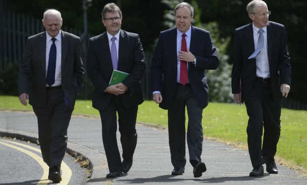 A DUP delegation, including (from left) William McCrea, Jeffrey Donaldson, Nigel Dodds and Gregory Campbell, leave Stormont after a meeting with Theresa Villiers