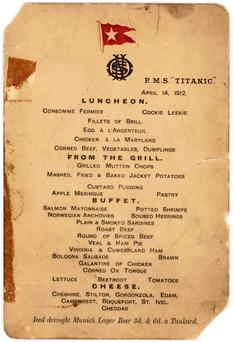 The Titanic menu which is expected to fetch £50,000 at auction