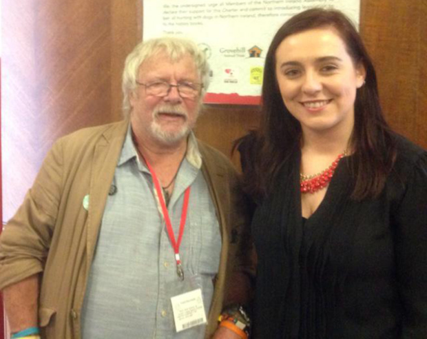 Hunting plea: Bill Oddie with Sinn Fein's Megan Fearon