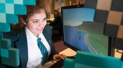 Thornhill College pupil Sarah Mulkerrins-Langan enters the world of Minecraft during a CultureTECH workshop