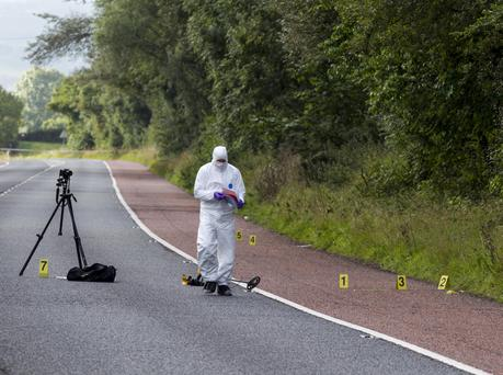 The scene on the Armagh Road near Newry yesterday after a man was shot in the leg by a masked gang