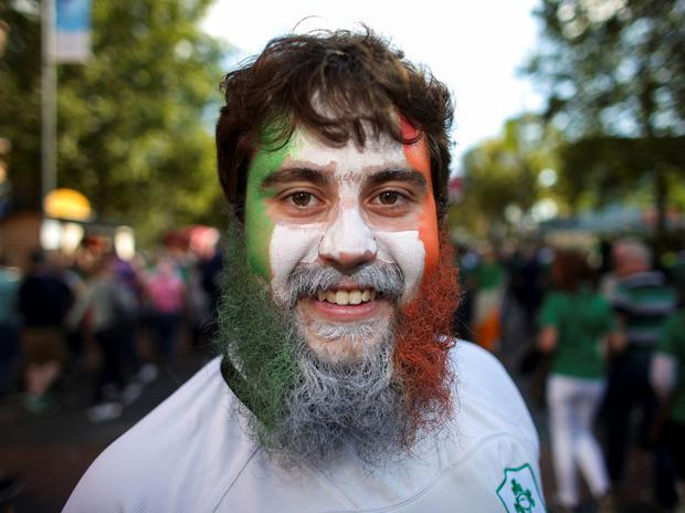 Ireland rugby fans enjoy themselves at Wembley yesterday