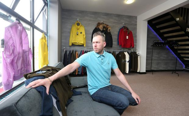 David James Kerr at his designer clothes shop in the Holywood Arches area of east Belfast
