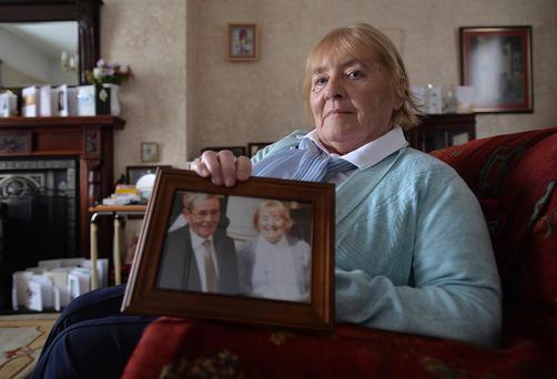 Widower Muriel Diffin at her home in Co Armagh with a treasured picture of her and late husband Espie