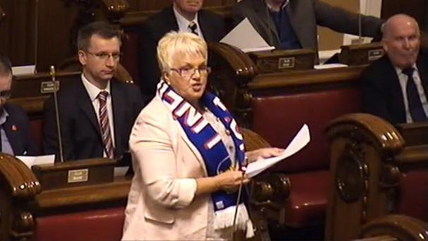 Ruth Patterson wearing a Linfield scarf in the city council chamber