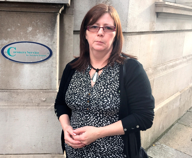 Janet Donnelly, the daughter of Joseph Murphy outside May's Chambers in Belfast yesterday