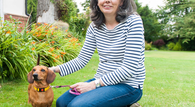 Helen and Boris the dog at home