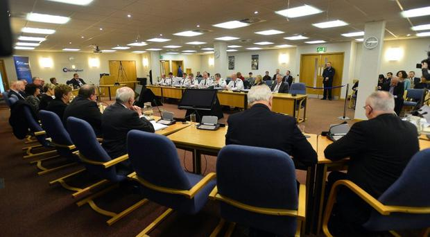 Chief Constable George Hamilton speaks during a meeting of the Policing Board earlier this year