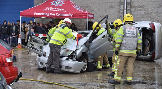 The emergency services staged a reconstruction of a road traffic collision yesterday at Belfast's Risk Avoidance and Danger Awareness Resource (RADAR) centre at the start of Road Safety week
