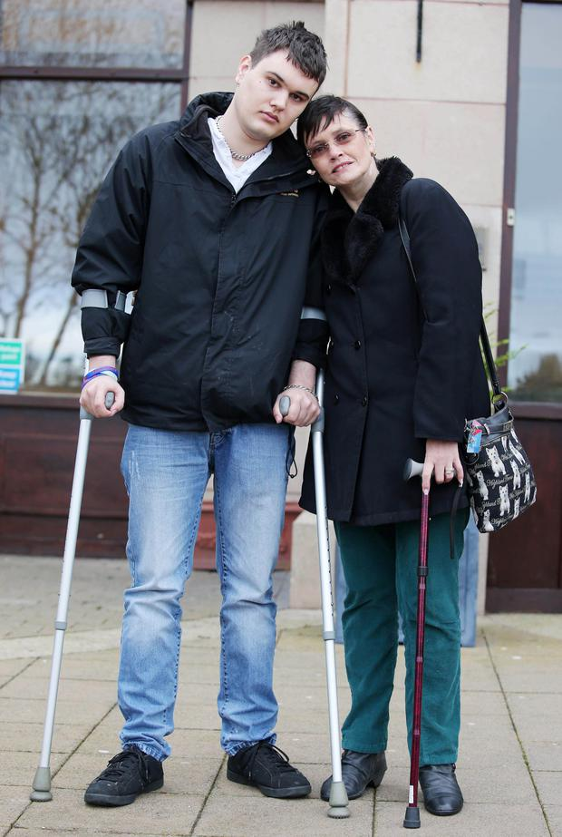 Scott Vineer with mother Helen-Louise yesterday after his attacker Ryan Craig was sentenced by a judge