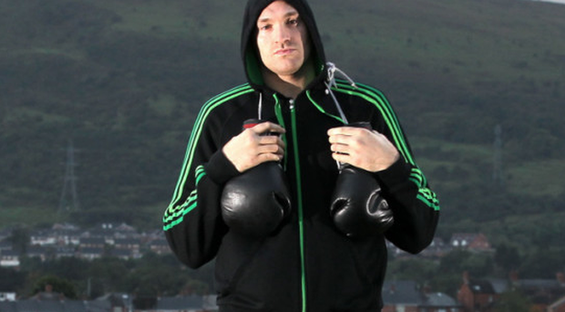Tyson Fury in Belfast during his visit to Northern Ireland in 2011