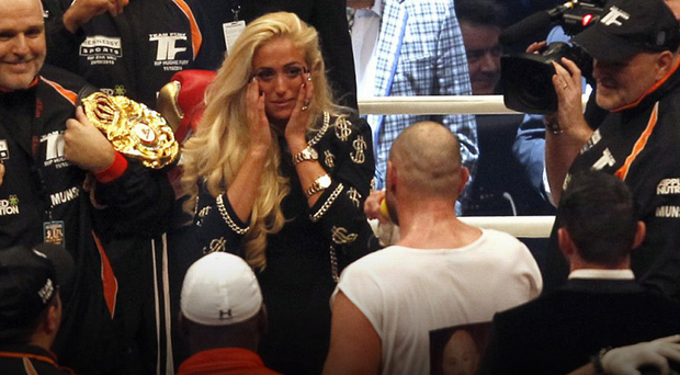 Tyson Fury serenades his wife Paris after his world title win last month