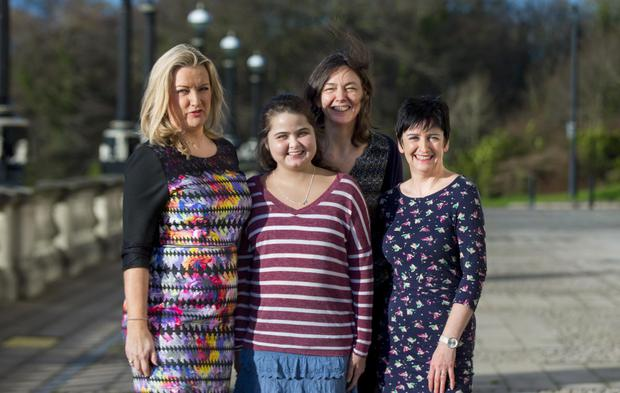Lucia Quinney-Mee with her mum Rachel with Jo-Anne Dobson and Monica Hackett