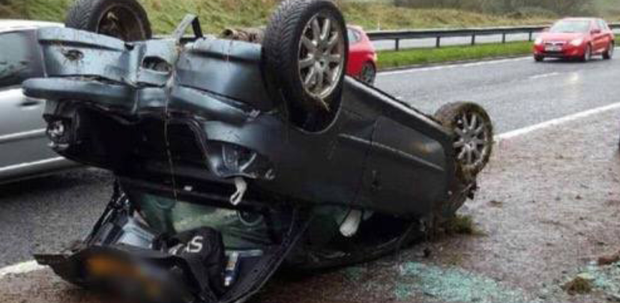 This car ended up on its roof after a one-vehicle collision on the M1 motorway