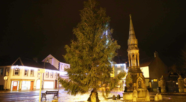 The Ballycastle Christmas tree has suffered a battering from the weather since its lights were switched on