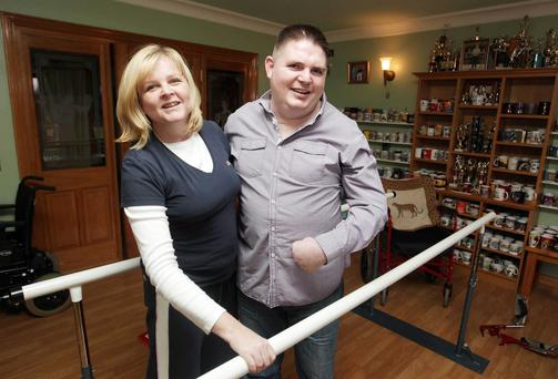 Kegworth air disaster survivor Stephen McCoy at his home in Toome, Co Antrim, with his sister Yvonne