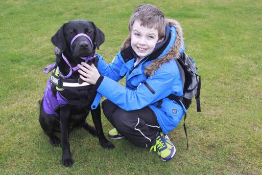 Henry with assistance dog Costa