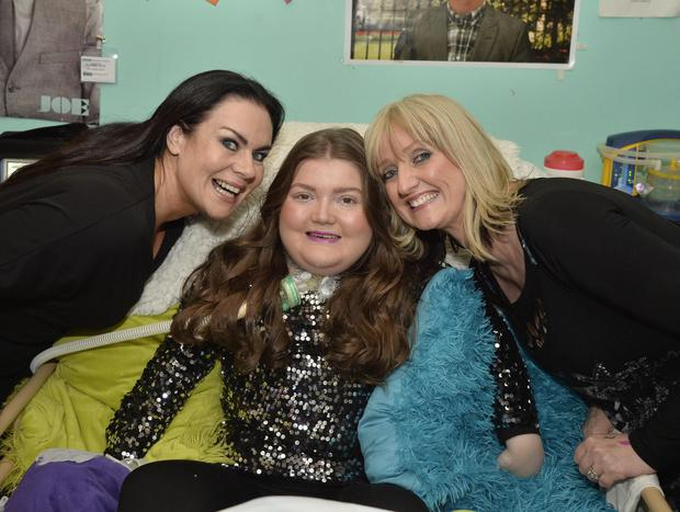 Phoebe gets ready for her big night with hairdresser Brenda Shankey and makeup artist Oonagh Boman