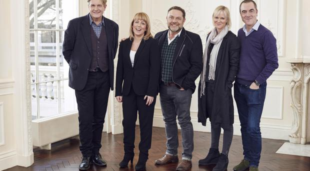 Above, from left: Robert Bathurst, Fay Ripley, John Thomson, Hermione Norris and James Nesbitt