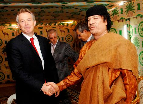 Tony Blair meets Colonel Gaddafi in 1997