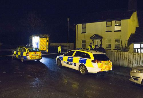PSNI and paramedics at the murder scene at Broombeg Park in Ballycastle