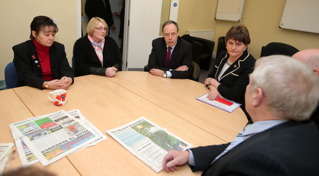 Arlene Foster and Nigel Dodds meet yesterday with relatives of those killed in the Shankill bombing