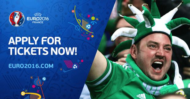 Stuart Killen's image was used as part of a campaign urging fans to apply for tickets for the Euros in France