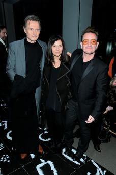 Liam Neeson, Ali Hewson and Bono at the Edun 2016 fashion show in New York