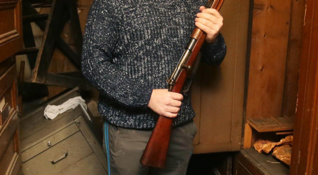 Ron McDowell with the rifles