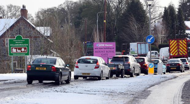 Traffic disruption on the road to Dromara