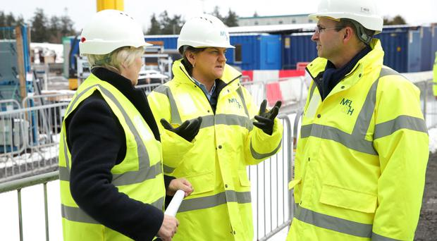 First Minister Arlene Foster visits the site of the new Omagh Hospital and Primary Care Complex yesterday