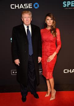 Controversial Republican Presidential candidate Donald Trump with his wife Melania